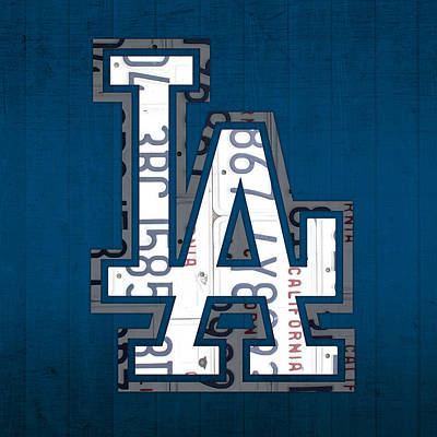 Los Angeles Mixed Media - Los Angeles Dodgers Baseball Vintage Logo License Plate Art by Design Turnpike