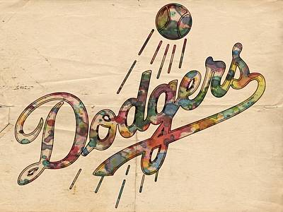 Painting - Los Angeles Dodgers Vintage Logo by Florian Rodarte