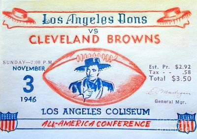 Los Angeles Dons Vs Cleveland Browns Art Print by Pg Reproductions