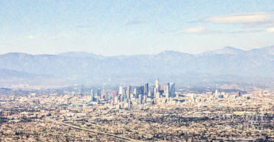 Los Angeles Digital Art - Los Angeles From The Air by Liz Leyden