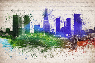 Los Angeles Skyline Mixed Media - Los Angeles In Color  by Aged Pixel