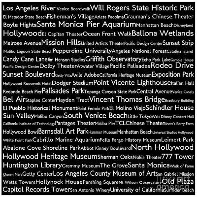 Venice Beach Digital Art - Los Angeles In Words Black by Sabine Jacobs