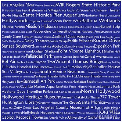 Venice Beach Digital Art - Los Angeles In Words Blue by Sabine Jacobs