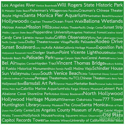 Venice Beach Digital Art - Los Angeles In Words Green by Sabine Jacobs