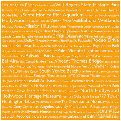 Venice Beach Digital Art - Los Angeles In Words Orange by Sabine Jacobs
