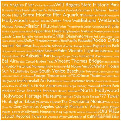 Venice Beach Digital Art - Los Angeles In Words Orange by Sabine Jacobs