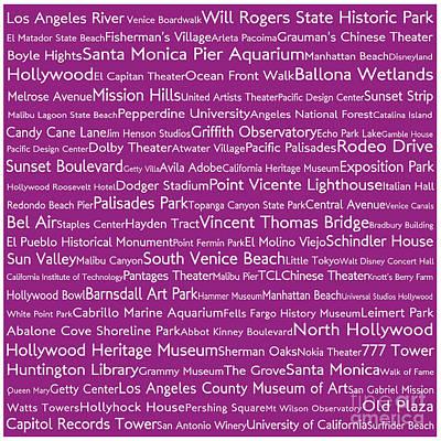 Venice Beach Digital Art - Los Angeles In Words Pink by Sabine Jacobs