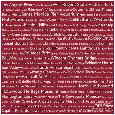Venice Beach Digital Art - Los Angeles In Words Red by Sabine Jacobs