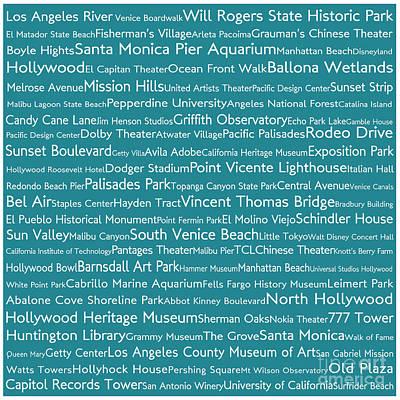 Venice Beach Digital Art - Los Angeles In Words Teal by Sabine Jacobs