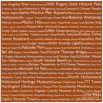 Urban Photograph - Los Angeles In Words Toffee by Sabine Jacobs