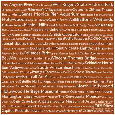 Venice Beach Digital Art - Los Angeles In Words Toffee by Sabine Jacobs