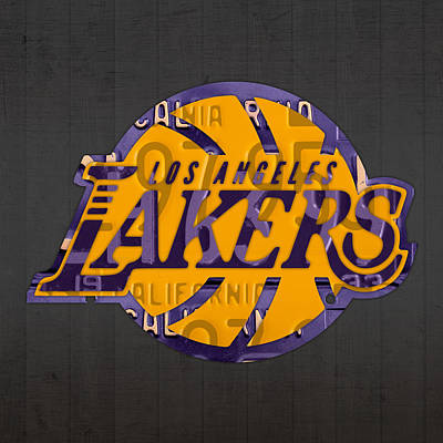 Los Angeles Lakers Basketball Team Retro Logo Recycled License Plate Art Art Print by Design Turnpike