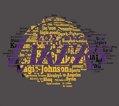 Magic Johnson Digital Art - Los Angeles Lakers Word Cloud by Brian Reaves