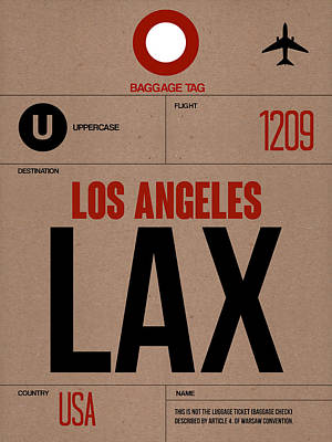 Cities Digital Art - Los Angeles Luggage Poster 1 by Naxart Studio