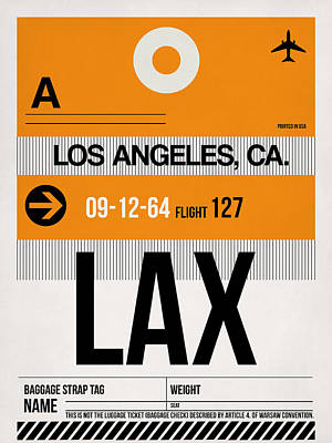 California Digital Art - Los Angeles Luggage Poster 2 by Naxart Studio