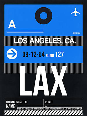Los Angeles Digital Art - Los Angeles Luggage Poster 3 by Naxart Studio