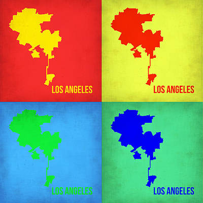 Modern Poster Painting - Los Angeles Pop Art Map 1 by Naxart Studio