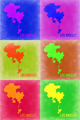 California Maps Painting - Los Angeles Pop Art Map 3 by Naxart Studio