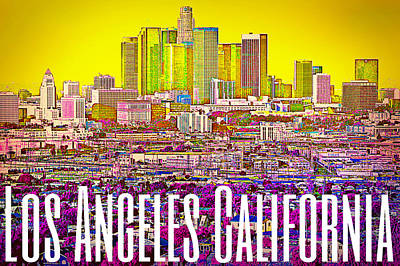 Digital Art - Los Angeles Postcard by Michelle Dallocchio