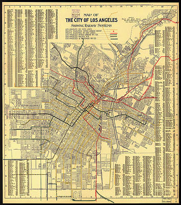 Featured Drawings Drawing - Los Angeles Rail System Map 1906 by Mountain Dreams