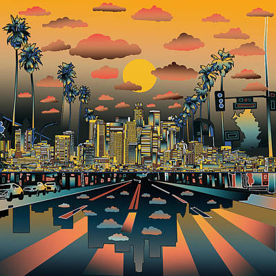 Skylines Paintings - Los Angeles Skyline Abstract 2 by Bekim Art