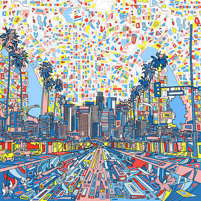 Abstract Map Painting - Los Angeles Skyline Abstract 3 by Bekim Art