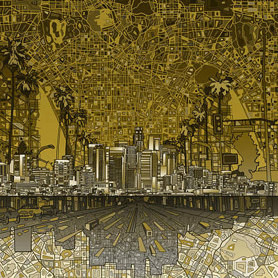 Painting - Los Angeles Skyline Abstract 4 by Bekim Art