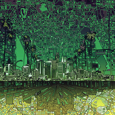Abstract Digital Painting - Los Angeles Skyline Abstract 6 by Bekim Art