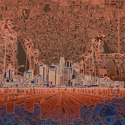 Abstract Digital Painting - Los Angeles Skyline Abstract 7 by Bekim Art