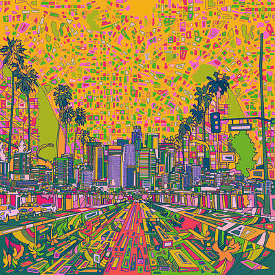 Abstract Digital Painting - Los Angeles Skyline Abstract by Bekim Art