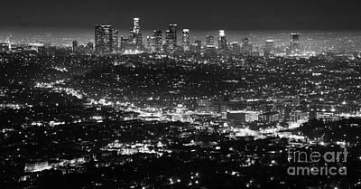 Los Angeles Skyline At Night Monochrome Art Print by Bob Christopher