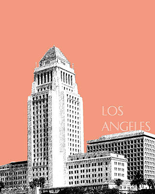 Los Angeles Skyline City Hall - Salmon Art Print by DB Artist