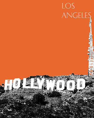 Pen And Ink Digital Art - Los Angeles Skyline Hollywood - Coral by DB Artist