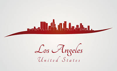 Los Angeles Skyline Digital Art - Los Angeles Skyline In Red by Pablo Romero