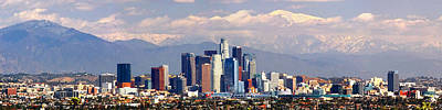 Los Angeles Skyline Photograph - Los Angeles Skyline With Mountains In Background by Jon Holiday