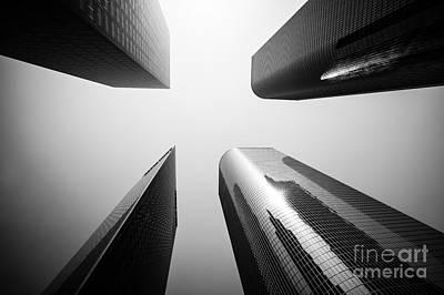Los Angeles Skyscraper Buildings In Black And White Art Print by Paul Velgos