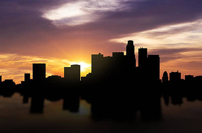 Los Angeles Skyline Mixed Media - Los Angeles Sunset Skyline  by Aged Pixel