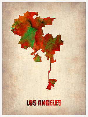 California Map Painting - Los Angeles Watercolor Map by Naxart Studio