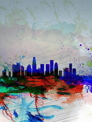 Downtown Wall Art - Painting - Los Angeles  Watercolor Skyline 1 by Naxart Studio