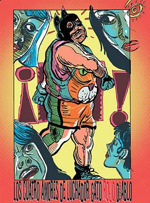 Los Cuatro Amores De Luchador Gato Rojo Diablo Art Print by John Brown