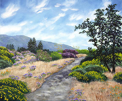 Painting - Los Gatos Trail Through Wildflowers by Laura Iverson