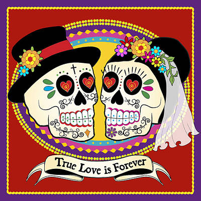Colorful Digital Art - Los Novios Sugar Skulls by Tammy Wetzel