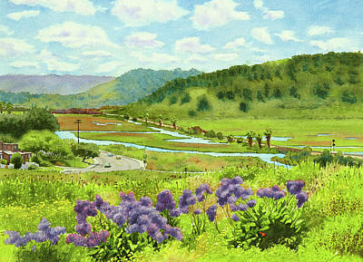 Railroad Tracks Painting - Los Penasquitos Looking East by Mary Helmreich