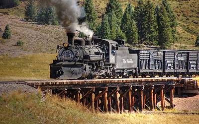Bath Time Rights Managed Images - Los Pinos Bridge and Cattle Train Royalty-Free Image by Ken Smith