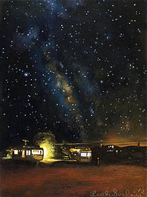 Milky Way Painting - Los Rancheros Rv Park by Leah Saulnier The Painting Maniac