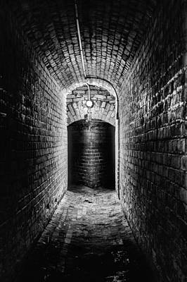 Lights In Tunnel Photograph - Lose Yourself In Pensacola Bw by JC Findley