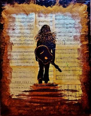 Metallic Sheets Painting - Lose Yourself In The Music Acrylic Painting by Linda Waidelich