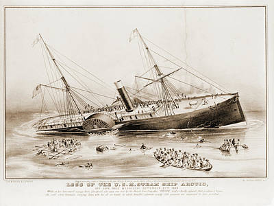 Arctic Drawing - Loss Of The U.s.m. Steam Ship Arctic Off Cape Race by Litz Collection
