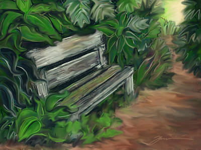 Painting - Lost Bench by Jean Pacheco Ravinski