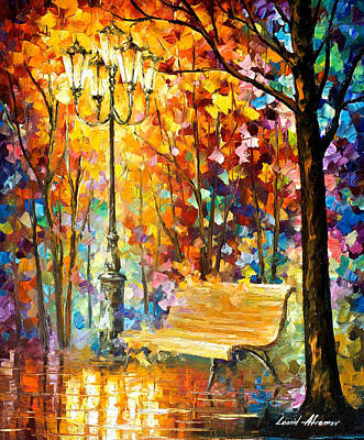 Lost Bench - Palette Knife Oil Painting On Canvas By Leonid Afremov Original by Leonid Afremov